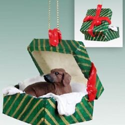DACHSHUND Christmas GREEN GIFT BOX Dog Ornament HAND PAINTED FIGURINE red puppy