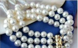 3 Rows Genuine Natural 8-9mm South Sea Round White Pearl Bracelet 7.5-8inch 14k