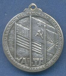 Yalta Roosevelt Argentina 1945 Silver Medal Wwii Flags Usa Uk Gb Russia Ussr