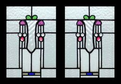 Stunning Arts And Crafts Pair Antique Scottish Stained Glass Windows