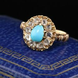 Antique Victorian 14k Yellow Gold Turquoise And Rose Cut Diamond Cluster Ring