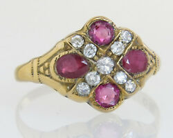 Antique Ostby Barton 10k Gold 1.00ct Ruby And Diamond Victorian Ring Size 7.25