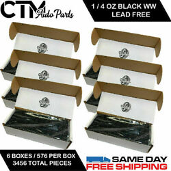 6 Box 3456 Pieces 1/4 Oz Black Wheel Weights Stick On Adhesive Tape 9 Lbs