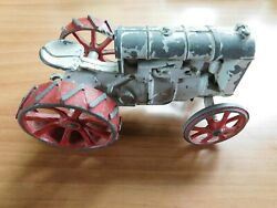 Vintage Fordson Tractor All-metal Cast Toy Tractor White Red D6 Original Cond