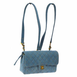 Authentic CHANEL Quilted CC Chain Backpack Bag Light Blue Denim Vintage AK30730