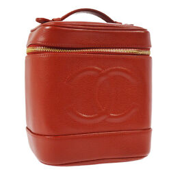 Cc Cosmetic Vanity Hand Bag Red Caviar Skin Leather Vtg Ak31743h
