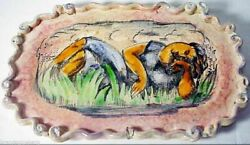 Rene Buthaud Handpainted Signed Tray French Ceramic Antique Art Deco 2975