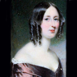 Antique Miniature Portrait Painting By Edward Tayler Of Beautiful Woman 6373