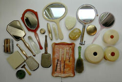 Lg Lot Of Vintage Vanity Accessories Mirrors Brushes Celluloid Dresser Sets
