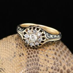 Antique Victorian 14k Yellow Gold Diamond And Black Enamel Cluster Engagement Ring