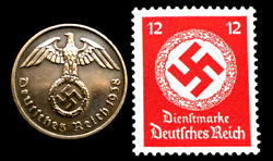 Old WWII German War Two Rp Coin amp; RAREST 12 pf Red Stamp World War 2 Artifacts