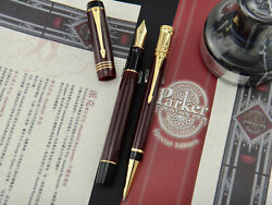 Parker Duofold Burgundy Special Non-numbered Edition Set Fp + Bp Year 2001 M