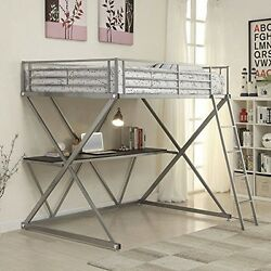 Coaster 400034F Full Workstation Bunk Loft Bed With Desk Silver Finish