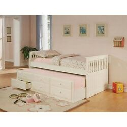Coaster 300107 Fine 300107 Mission Style Day Bed with Trundle White NEW