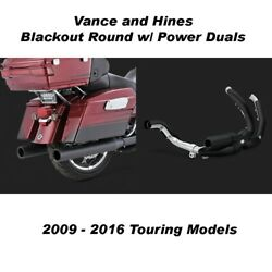 Vance And Hines Touring 4 Blackout Round Slip-ons Black Power Duals 09-16 Touring
