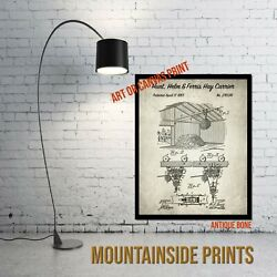 1883 Hunt Helm And Ferris Hay Carrier Patent Art Print - Rustic Wall Art