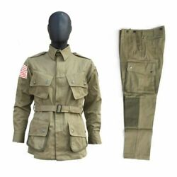 Wwii Us Army Paratrooper M42 Uniform Airborne Field Jacket Trousers Size 44r/l