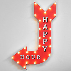 36 Happy Hour Curved Arrow Sign Light Up Metal Marquee Vintage Pub Bar Drinks