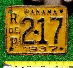 MOTORCYCLE LICENSE PLATE - PANAMA 1937, all original, most likely only one known