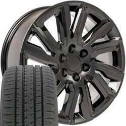 Oew 22x9 Wheels And Tires Fit Chevy Gm High Country Black W/black Bda