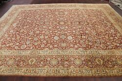 Vintage Copper Rust All-over Floral Traditional Oriental Area Rug Wool 10x13