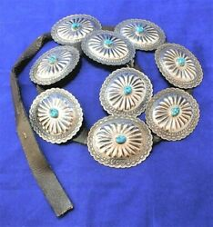 Vintage Tony Guerro Sterling Silver Concho Belt Turquoise Native Amercan Navajo
