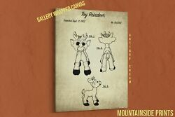 1962 Toy Reindeer Canvas Patent Print - Christmas Gift For Kid - Christmas Decor