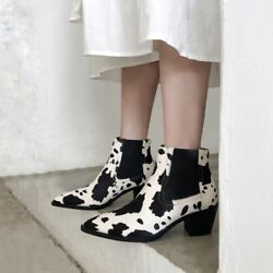 Hot Sale Fashion Women Pointy Toe Block Heels Ankle Boots Camouflage Black White
