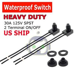 2pcs 12V 4quot; Wire Leads Waterproof On Off Push Button Switch for Motorcycle Car $3.75