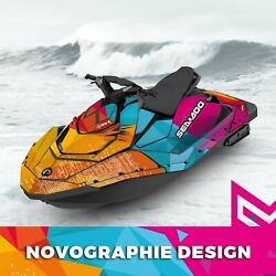 Seadoo Spark Trixx Bombardier 2up + 3up Jet Ski Graphic Kit Decal Wrap Colorful