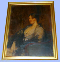 Well Listed Nyc Artist William Cotton Portrait Oil Painting 35x46 Framed