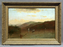 Fine Landscape With A Lake And Boats Painting Signed And Dated 1879