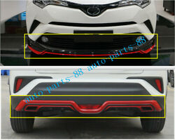 Red Front+rear Bumper Bottom Guard Molding Cover For Toyota C-hr Chr 2018 2019