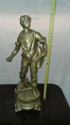 Antique Figural Statue France The Seeder Signed Rouseau And Foundry Mark