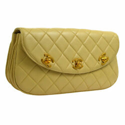 Auth CHANEL Quilted CC Triple Turn Lock Clutch Party Bag Beige Leather A41702