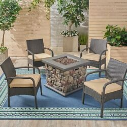 Mavis Patio Fire Pit Set 4-seater With Club Chairs Wicker With Outdoor Cushion