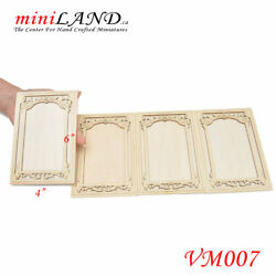 Large Carved Wooden Wainscoting Panels 4pcs For 16 Dollhouse Miniature Vm007
