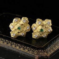 Vintage 18k Yellow Gold Diamond And Emerald Earrings