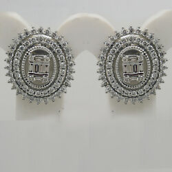 Art Deco 1.51 Ct Natural Diamond Cluster Stud Earrings In Solid Sterling Silver