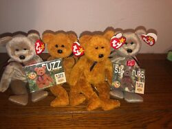 Retired Ty Beanie Babies With Errors Rare 4 Bears 2 Collector Cards Mint Condit