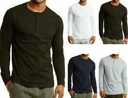 Men#x27;s Long Sleeve Henley 3 Button Pullover Cotton T Shirt Crew Neck $13.48