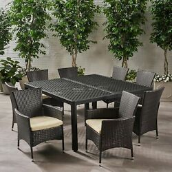 Nelly Outdoor Aluminum And Wicker 8 Seater Dining Set