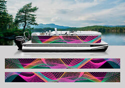 Wrapping Pontoon Replacement Graphics Kit Decal Stickers Vinyl Boats Fluo Lines