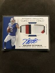 2017 National Treasures Nathan Peterman RC Auto Patch 07/25 Very Rare Raiders