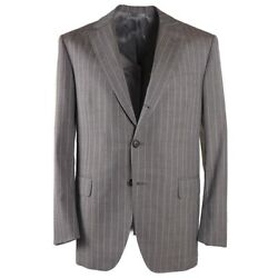 Nwt 4395 Oxxford Dove Gray Striped Wool And Linen Suit 42 R Modern-fit