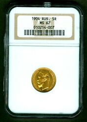 1904 Russian Impire Gold Coin 5 Rouble Ruble Roubles Ngc Ms67 Russia 010214-007