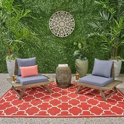 Kailee Outdoor Wooden Club Chairs With Cushions Set Of 2 Dark Gray And Gray F
