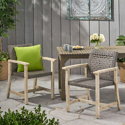 Clementine Outdoor Acacia Wood And Wicker Dining Chair Set Of 2