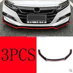 3PCS Black+red edge Front Bumper Front Lip Cover Kit For Honda Accord 2018 2019