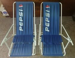 Vintage 1995 Pepsi Folding Beach Lawn Concert Chairs Red White Blue Lot Of 2 Set